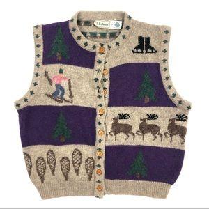 VTG L.L. Bean Wool Winter Sweater Vest Sz Large